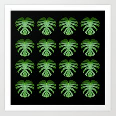 Monstera Mirror Leaf Pattern Art Print