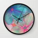 Between the Lines - tropical flowers in pink, orange, blue & mint Wall Clock