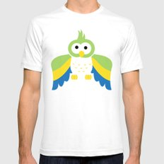 Minimal Parrot White Mens Fitted Tee SMALL