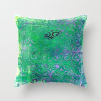 Purple Curls On Green Throw Pillow