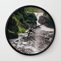 Waterfall And Swirling R… Wall Clock