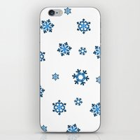 Snowflakes (Blue & Black on White) iPhone & iPod Skin
