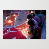 Protest by candelight Canvas Print