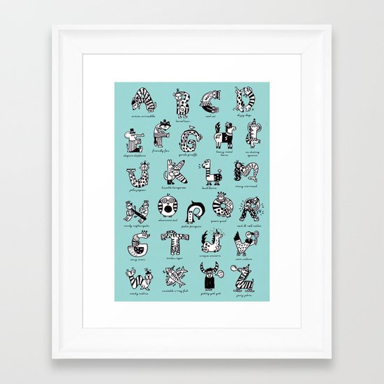 A to Z animals Framed Art Print