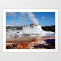 Geyser In Yellowstone Na… Art Print