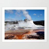 Geyser in Yellowstone National Park Art Print