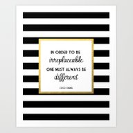 Art Print featuring Coco Gold Irreplaceable … by Poppy Loves To Groov…