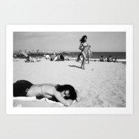 girls on beach Art Print