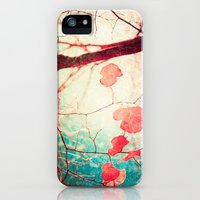 iPhone Cases featuring Tree autumn and blue textured sky by AC Photography