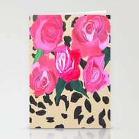 Roses And Leopard Print Stationery Cards