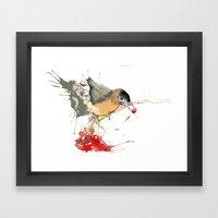 Birds And Berries Framed Art Print