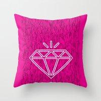 diamond magenta Throw Pillow