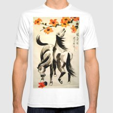 horses under floral tree SMALL White Mens Fitted Tee