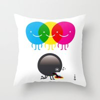 CMY makes K dizzy Throw Pillow