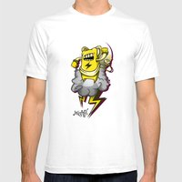 StormBot - Yellow Robot Mens Fitted Tee White SMALL