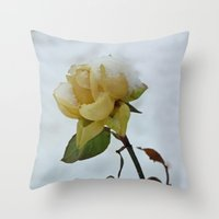 Rose in the Snow Throw Pillow