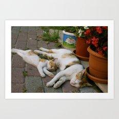 Sleepy mom and kitty Art Print