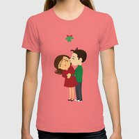 Christmas Kisses Womens Fitted Tee Pomegranate SMALL