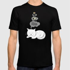 A cat dreaming of a cat that dreams of dreaming of a cat that dreams of dreaming of a cat. Mens Fitted Tee Black SMALL