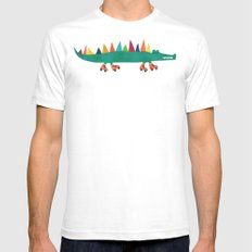 Crocodile on Roller Skates Mens Fitted Tee White SMALL