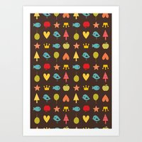 Happy pattern Art Print