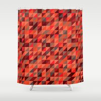 Quilted Reds / Retro Tri… Shower Curtain