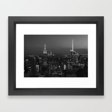 The Empire State and the city. Black & white photography Framed Art Print