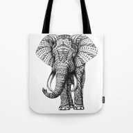 Tote Bag featuring Ornate Elephant by BIOWORKZ