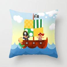pirate ship Throw Pillow