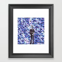 General Gears On Blue Framed Art Print