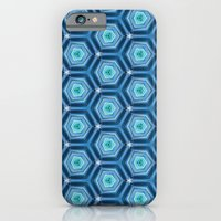 iPhone Cases featuring Abstract Hexagon Blue Pattern by cinema4design