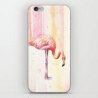 Pink Flamingo Watercolor | Facing Right iPhone & iPod Skin