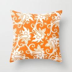 Paisley: Orange Ivory Throw Pillow