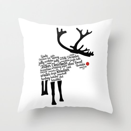 Rudolph Typography Throw Pillow