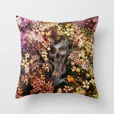 Orange Bird (Square) Throw Pillow
