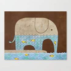 Thirsty Elephant - colour option Canvas Print