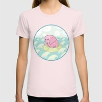 Elephant Across the Sea Womens Fitted Tee Light Pink SMALL