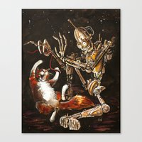 Robot And Cat In The Wil… Canvas Print