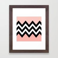 DOUBLE COLORBLOCK CHEVRON {PEACH/PEACH} Framed Art Print
