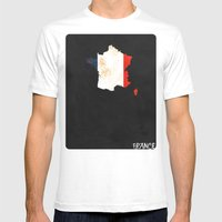France Minimalist Vintage Map with Flag Mens Fitted Tee White SMALL