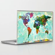 Laptop & iPad Skin featuring Abstract Map Of The Worl… by Gary Grayson