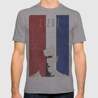 Zidane Minimal Portrait Mens Fitted Tee Athletic Grey SMALL