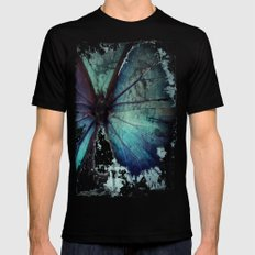 Abstract Butterfly Mens Fitted Tee Black SMALL