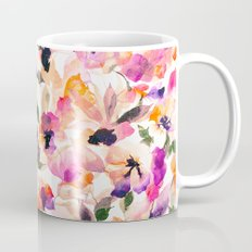 Chic Floral Pattern Pink Orange Pastel Watercolor Mug