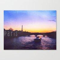 Sunset over Seine River, Paris Canvas Print