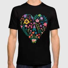 Floral Heart Mens Fitted Tee Black SMALL