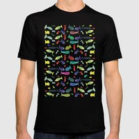 Happy colourful fish  Mens Fitted Tee Black SMALL