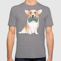 Corgi Dog Mens Fitted Tee Tri-Grey SMALL