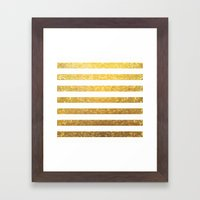 White and Gold Stripes  Framed Art Print