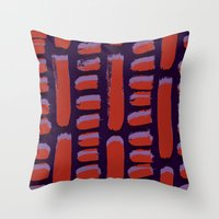 Dots and dashes - painted and digital pattern Throw Pillow